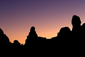 Silhouettes of rocks by North and South Window in Arches National Park