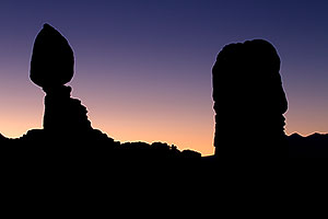 Balanced Rock silhouete (left) in Arches National Park