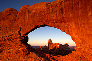 View of Turret Arch through North Window in Arches National Park
