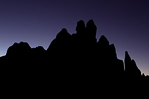 Rock silhouettes in Devils Garden in Arches National Park
