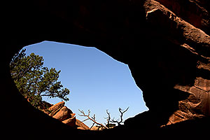 View through Double O Arch in Arches National Park