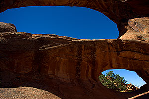2 window openings at Double O Arch in Arches National Park
