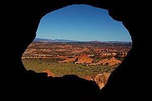 View through the Partition Arch in Arches National Park