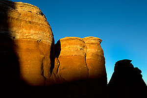 Evening orange colors on rocks in Arches National Park