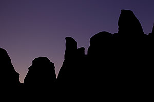 Silhouettes in Devils Garden near Broken Arch in Arches National Park