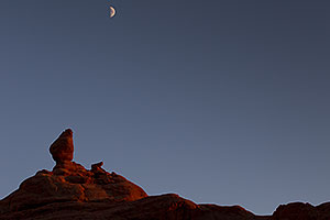 Moon over rocks in Arches National Park