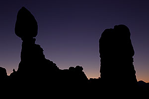 Balanced Rock silhouette in Arches National Park