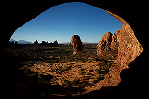 View through the Double Arch in Arches National Park