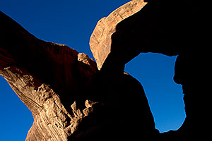 View upwards at Double Arch in Arches National Park
