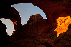Double Arch in last minutes of daylight in Arches National Park