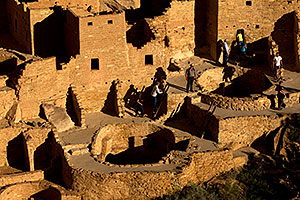 People at Cliff Palace ruins at Mesa Verde