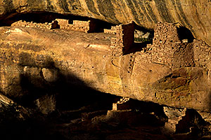 New Fire House ruins (bottom in shadows) in Mesa Verde