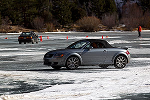 Audi on ice covered Georgetown Lake
