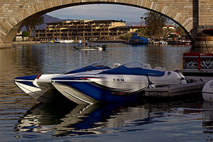 Boat at London Bridge in Lake Havasu City