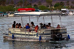Pontoon boat near London Bridge in Lake Havasu City