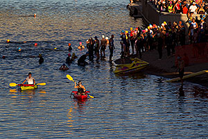 Swimmers before Tempe Triathlon in Tempe Town Lake