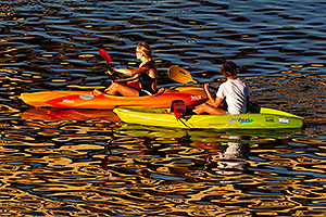 Kayak support crew at Tempe Triathlon in Tempe Town Lake