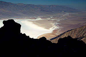 View from Dantes View at Badwater at elevation -282 ft