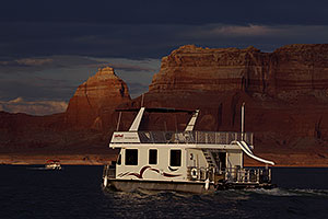 Houseboat in the evening at Lake Powell