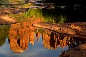 Cathedral Rock reflection in Oak Creek in Sedona