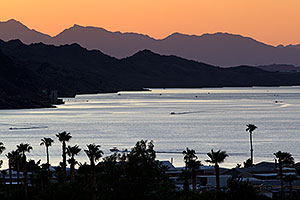 Evening mountain silhouettes at Lake Havasu