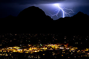 Lightning view of Sedona from Airport Overlook