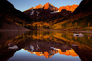 Morning reflection of Maroon Bells in Colorado