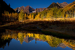 Pond reflection of Maroon Bells, Colorado
