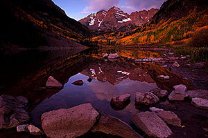 Sunrise reflection of Maroon Bells in Colorado