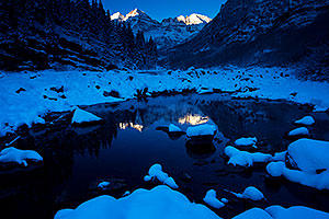 Snowy sunrise in Maroon Bells, Colorado
