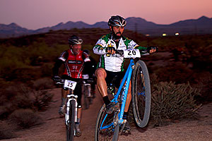 07:45:55 #20 and #15 at the end of the lap of Mountain Biking at Trek Bicycles 12 and 24 Hours of Fury …