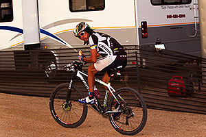 07:10:19 #1 Tinker Juarez with a sandwich at Trek Bicycles 12 and 24 Hours of Fury …