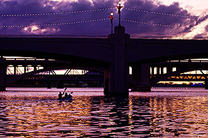 Kayakers in the evening at Tempe Town Lake