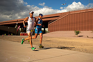 06:09:40 - #19 Patrick Jaberg [CHE] (eventually 14th in 08:33:50) and #41 Lewis Elliot [USA] (eventually 17th in 08:38:13) at start of Lap 1 - Ironman Arizona 2011