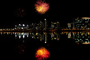 Fireworks over ASU from Tempe Town Lake