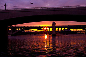 Plane above Tempe Town Lake at sunset