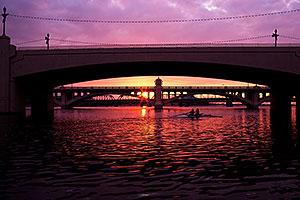 Rowers at Tempe Town Lake at sunset