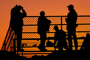 People silhouettes at Winterfest 2012 Fireworks in Lake Havasu City