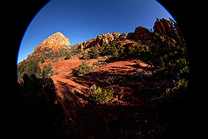 Fisheye view of Thunder Mountain in Sedona