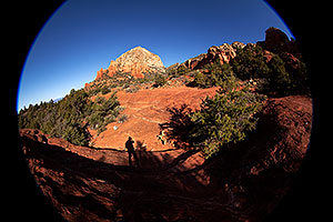 Fisheye view of Thunder Mountain and silhouette in Sedona