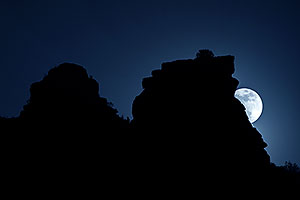 Moon near Cathedral Rock in Sedona