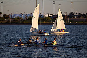 Rowers and sailboats at Tempe Town Lake