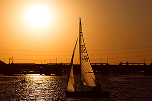 Sailboat at sunset at Tempe Town Lake
