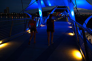 Evening at blue bridge over Tempe Town Lake