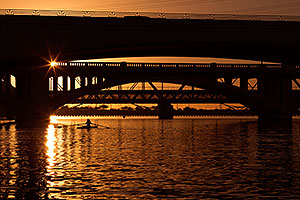 Rower at sunset at Tempe Town Lake