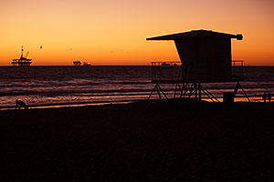 Sunset at Huntington Beach, California