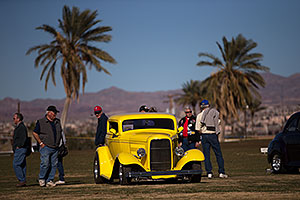 Antique yellow car at Lake Havasu Balloon Fest