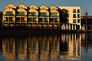 Morning reflection of The Heat condos at Lake Havasu City