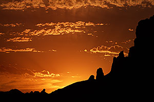 Mountain silhouettes at sunrise in Superstitions