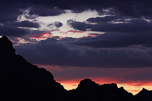 Sunset mountain silhouettes in Sedona
